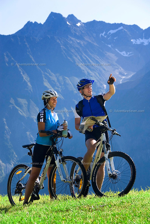Soelden, Oetztal, Tyrol, Austria, August 2009. Mountainbikers descend from the Gampe Alm at 2000 meter. A valley full of opposites, between action and relaxation. Lush green meadows and mighty rocks. White waters and eternal ice. Photo by Frits Meyst/Adventure4ever.com