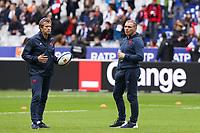 2nd February 2020, Stade de France, Paris; France, 6-Nations International rugby union, France versus England;  Fabien Galthie (France) discusses tactics with Raphael Ibanez (France)