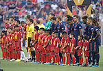 Milan players (far left) and Bayern Munich players (at right) line up with youth soccer players as escorts before their International Champions Cup match on July 23, 2019 at Children's Mercy Park in Kansas City, KS.<br /> Tim VIZER/AFP