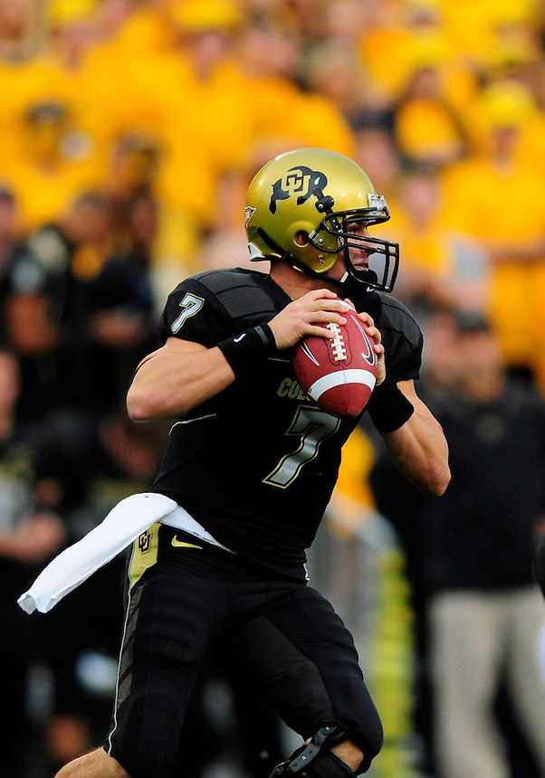 04 October 2008: Colorado quarterback Cody Hawkins looks for an open receiver against Texas. The Texas Longhorns defeated the Colorado Buffaloes 38-14 at Folsom Field in Boulder, Colorado. For Editorial Use Only