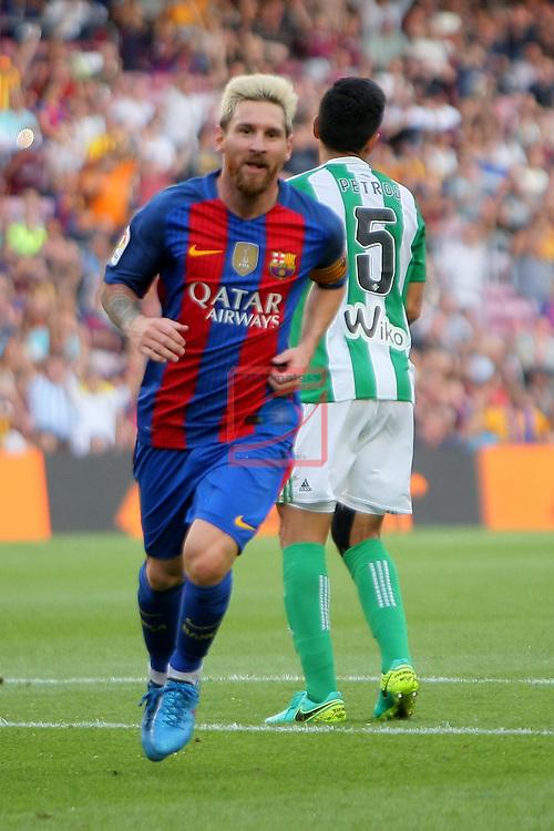 League Santander 2016/2017. Game: 1.<br /> FC Barcelona vs Real Betis: 6-2.<br /> Lionel Messi.