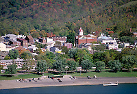 Historic Madison, Indiana and the Ohio River, view from Milton, Kentucky. Madison Indiana.