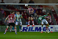 Lincoln City's Jason Shackell clears a corner<br /> <br /> Photographer Andrew Vaughan/CameraSport<br /> <br /> The EFL Sky Bet League Two - Lincoln City v Yeovil Town - Friday 8th March 2019 - Sincil Bank - Lincoln<br /> <br /> World Copyright © 2019 CameraSport. All rights reserved. 43 Linden Ave. Countesthorpe. Leicester. England. LE8 5PG - Tel: +44 (0) 116 277 4147 - admin@camerasport.com - www.camerasport.com
