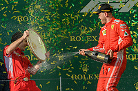 March 25, 2018: Sebastian Vettel (DEU) #5 from the Scuderia Ferrari team celebrates after winning the 2018 Australian Formula One Grand Prix at Albert Park, Melbourne, Australia. Lewis Hamilton (GBR) #44 from the Mercedes AMG Petronas Motorsport team came second and Sebastian Vettel (DEU) #5 from the Scuderia Ferrari team came third. Photo Sydney Low