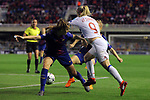 UEFA Women's Champions League 2017/2018.<br /> Quarter Finals.<br /> FC Barcelona vs Olympique Lyonnais: 0-1.<br /> Patricia Guijarro, Eugenie Le Sommer &amp; Barbara Latorre.