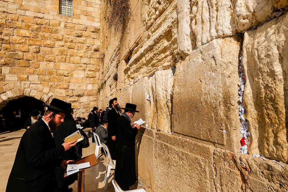Orthodox Jewish men praying in the men's section, Western