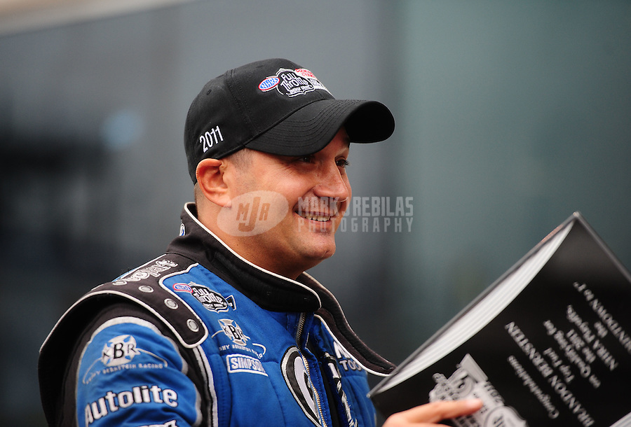 Sept. 16, 2011; Concord, NC, USA: NHRA top fuel dragster driver Brandon Bernstein during qualifying for the O'Reilly Auto Parts Nationals at zMax Dragway. Mandatory Credit: Mark J. Rebilas-US PRESSWIRE