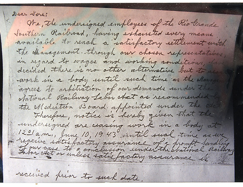 Photo of letter from RGS employess stating their intention to go on strike June 10, 1943.<br /> RGS