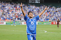 El Salvador midfielder Edwin Sanchez (15) celebrates his score. El Salvador National Team defeated Venezuela 3-2 in an international friendly at RFK Stadium, Sunday August 7, 2011.