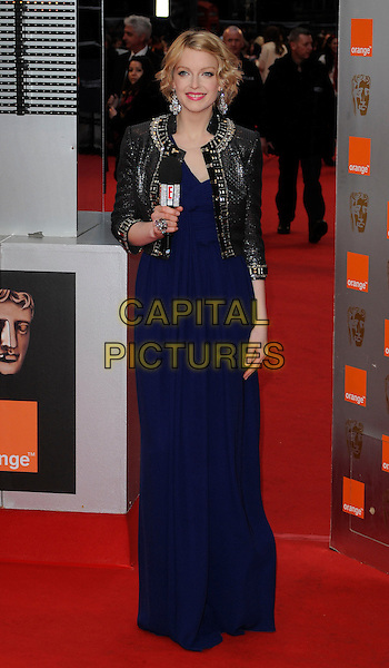 LAUREN LAVERNE.Arrivals at the Orange British Academy Film Awards 2010 at the Royal Opera House, Covent Garden, London, England, UK, .21st February 2010.BAFTA BAFTAs full length silver trophy beaded embellished trim jacket blue dress long maxi  microphone grey gray shiny .CAP/CAN.©Can Nguyen/Capital Pictures