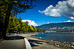 Under the trees along the beachside trail, Stanley Park, Vancouver, B.C, Canada on a sunny day, early summer. Lions Gate Bridge in the background.