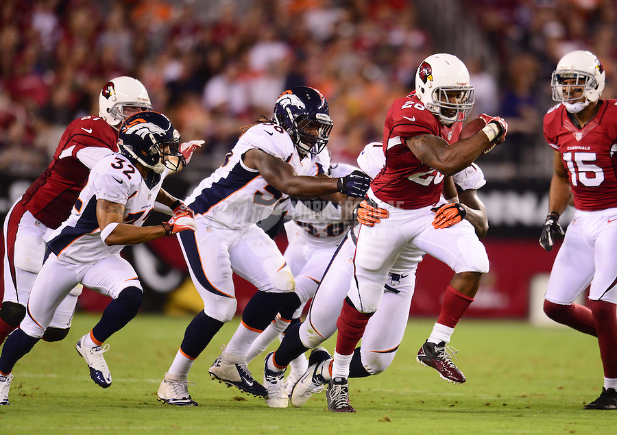 Aug. 30, 2012; Glendale, AZ, USA; Arizona Cardinals running back (26) Beanie Wells runs the ball in the first half against the Denver Broncos during a preseason game at University of Phoenix Stadium. Mandatory Credit: Mark J. Rebilas-