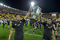 All Blacks' Jerome Kaino and Malakai Fekitoa. All Blacks v Wallabies. The Rugby Championship &amp; Bledisloe Cup at Westpac Stadium, Wellington, New Zealand on Saturday 27 August 2016.<br /> Photo by Masanori Udagawa. <br /> www.photowellington.photoshelter.com.