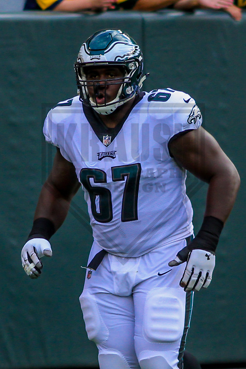 Philadelphia Eagles guard Chance Warmack (67) during a preseason football game against the Green Bay Packers on August 10, 2017 at Lambeau Field in Green Bay, Wisconsin. Green Bay defeated Philadelphia 24-9.  (Brad Krause/Krause Sports Photography)