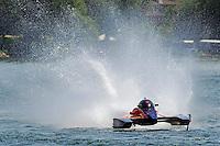 "13-14 June, 2009, APBA Inboards, Walled Lake, Novi, MI. USA.Nicky Pellerin, A-60 ""Mr. Bud"", 2.5 Mod hydroplane.©F. Peirce Williams 2009 USA.F.Peirce Williams.photography.ref: RAW (.NEF) File Available"
