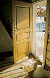 SWEDEN, Swedish Lapland, Open Doorway with Snow Inside
