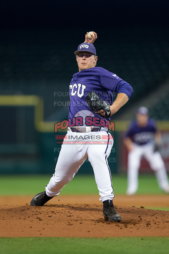 Texas Christian Horned Frogs starting pitcher Luken Baker (19) in action against the Rice Owls in game six of the Shriners Hospitals for Children College Classic at Minute Maid Park on February 27, 2016 in Houston, Texas.  (Brian Westerholt/Four Seam Images)