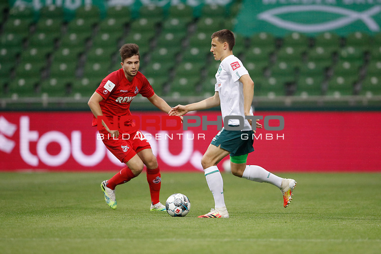 27.06.2020, wohninvest , nphgm001, WESERSTADION, Bremen, Ligaspiel, 1. Bundesliga, SV Werder Bremen vs 1. FC Koeln, im Bild v.l. Elvis Rexhbecaj (20, Koeln), Maximilian Eggestein (35, Bremen)<br /> Foto: Joachim Sielski/Sielski-Press/Pool/gumzmedia/nordphoto<br />