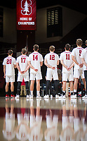 STANFORD, CA - January 5, 2019: Cole Paullin, Eli Wopat, Kyler Presho, Jordan Ewert at Maples Pavilion. The Stanford Cardinal defeated UC Santa Cruz 25-11, 25-17, 25-15.