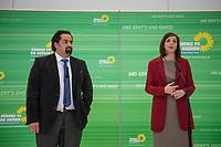 Die Fraktionsvorsitzende von Buendnis 90/Die Gruenen im Deutschen Bundestag, Katrin Goering-Eckardt (links im Bild) und der Vorsitzende des Zentralrat des Muslime in Deutschland, Aiman Mazyek (rechts im Bild), vor der Fraktionssitzung von Buendnis 90/Die Gruenen.<br /> Aiman Mazyek wurde von der Fraktion eingeladen, um ueber die Situation der muslimischen Gemeinden in Deutschland nach den vermehrten Angriffen auf Moscheen und den Aeusserungen von Innen- und Heimatminister Horst Seehofer, &quot;der Islam gehoere nicht zu Deutschland&quot;, zu berichten.<br /> 20.3.2018, Berlin<br /> Copyright: Christian-Ditsch.de<br /> [Inhaltsveraendernde Manipulation des Fotos nur nach ausdruecklicher Genehmigung des Fotografen. Vereinbarungen ueber Abtretung von Persoenlichkeitsrechten/Model Release der abgebildeten Person/Personen liegen nicht vor. NO MODEL RELEASE! Nur fuer Redaktionelle Zwecke. Don't publish without copyright Christian-Ditsch.de, Veroeffentlichung nur mit Fotografennennung, sowie gegen Honorar, MwSt. und Beleg. Konto: I N G - D i B a, IBAN DE58500105175400192269, BIC INGDDEFFXXX, Kontakt: post@christian-ditsch.de<br /> Bei der Bearbeitung der Dateiinformationen darf die Urheberkennzeichnung in den EXIF- und  IPTC-Daten nicht entfernt werden, diese sind in digitalen Medien nach &sect;95c UrhG rechtlich geschuetzt. Der Urhebervermerk wird gemaess &sect;13 UrhG verlangt.]