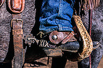 Closeup of a cowboy's foot in a stirrup; MacGregor Ranch, Estes Park, Colorado, USA