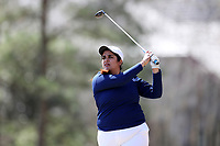 WALLACE, NC - MARCH 09: Parkha Ijaz of East Tennessee State University tees off on the 16th hole of the River Course at River Landing Country Club on March 09, 2020 in Wallace, North Carolina.