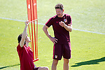 Atletico de Madrid's coach Diego Pablo Cholo Simeone (r) Tiago Mendes during training session. April 11,2017.(ALTERPHOTOS/Acero)