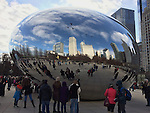 Chicago, Illinois, United States of America / USA; December 27, 2016 -- Cloud Gate, nicknamed The Bean, stainless steel sculpture by artist Anish Kapoor, at Millennium Park -- Photo: © HorstWagner.eu