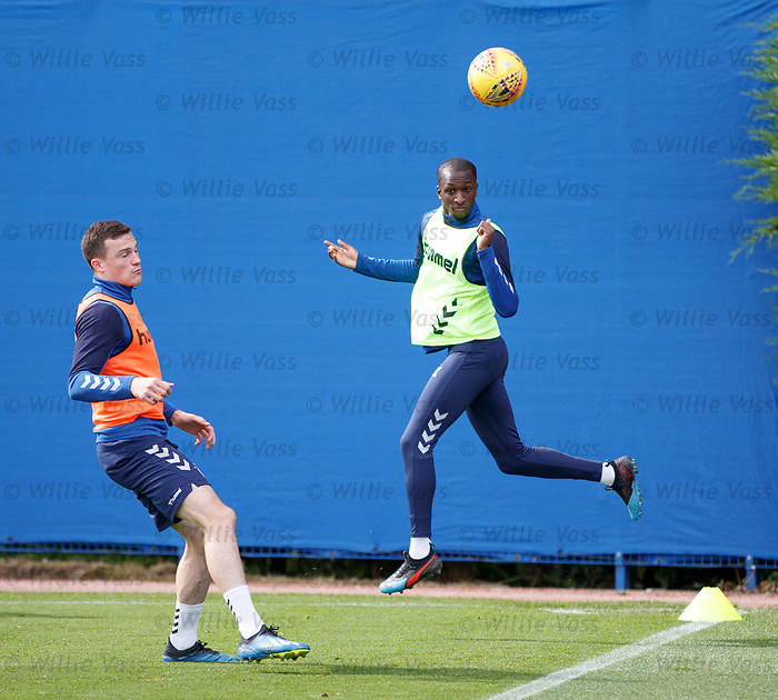 28.08.2019 Rangers training: Glen Kamara and George Edmundson