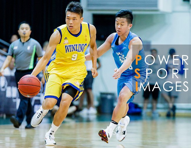 Fok Ka Ming #9 of Winling Basketball Club dribbles the ball up court against the Fukien during the Hong Kong Basketball League game between Winling and Fukien at Southorn Stadium on May 29, 2018 in Hong Kong. Photo by Yu Chun Christopher Wong / Power Sport Images