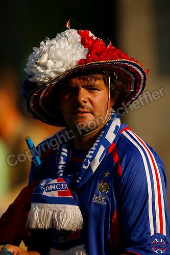 Jul 9, 2006; Berlin, GERMANY; A France supporter prior to the match between Italy and France in the final of the 2006 FIFA World Cup at the Olympiastadion, Berlin. Mandatory Credit: Ron Scheffler-US PRESSWIRE Copyright © Ron Scheffler