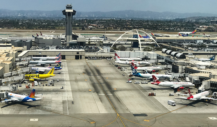 UNITED STATES - MAY 27: Airplanes are parked at their gates at Los Angeles International Airport on May 27, 2018. (Photo By Bill Clark/CQ Roll Call)