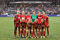 Portland, Oregon - Saturday July 9, 2016: Portland Thorns FC  starting eleven during a regular season National Women's Soccer League (NWSL) match at Providence Park.