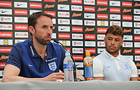 Gareth Southgate, England Manager with Alex Oxlade Chamberlain during England Press Conference at Stade Omnisport, Croissy sur Seine, France  on 12 June 2017 ahead of England's friendly International game against France on 13 June 2017. Photo by David Horn/PRiME Media Images.