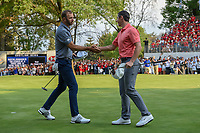 Rory McIlroy (NIR) congratulates Dustin Johnson (USA) on winning the World Golf Championships, Mexico, Club De Golf Chapultepec, Mexico City, Mexico. 2/24/2019.<br /> Picture: Golffile | Ken Murray<br /> <br /> <br /> All photo usage must carry mandatory copyright credit (© Golffile | Ken Murray)