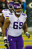 Minnesota Vikings tackle Rashod Hill (69) during a National Football League game against the Green Bay Packers on December 23rd, 2017 at Lambeau Field in Green Bay, Wisconsin. Minnesota defeated Green Bay 16-0. (Brad Krause/Krause Sports Photography)