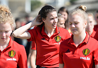 20180302 - LARNACA , CYPRUS :  Belgian Silke Vanwynsberghe pictured during a Muscular warm up training session on the beach before a women's soccer game between The Belgian Red Flames and Spain , on friday 2 March 2018 on the CTO Beach in Larnaca , Cyprus . The game will be the second game in group B for Belgium during the Cyprus Womens Cup , a prestigious women soccer tournament as a preparation on the World Cup 2019 qualification duels. PHOTO SPORTPIX.BE | DAVID CATRY