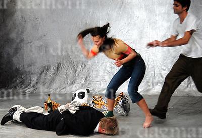 """Die fetten jahre sind vorbei""  Gorki Studio Berlin,Germany,director Frank Abt,Jule(Iringo`Re´ti),Jan (Maximilian Grill),Peter (Gunnar Teuber),Hardenberg (Horst Kotterba)"