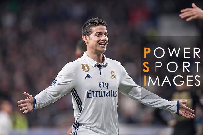 James Rodriguez of Real Madrid celebrates during the match Real Madrid vs Napoli, part of the 2016-17 UEFA Champions League Round of 16 at the Santiago Bernabeu Stadium on 15 February 2017 in Madrid, Spain. Photo by Diego Gonzalez Souto / Power Sport Images