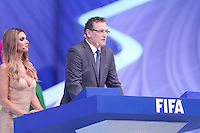Costa do Sauípe, Bahia, Brazil - Friday, Dec 6, 2013: <br /> FIFA Secretary General Jérôme Valcke and Brazilian actress Fernanda Lima host the draw for 32 teams who have qualified for the finals.