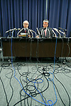(L to R) Japan Post Holdings Co. President Masatsugu Nagato and Director Kunio Yokoyama, speak during a news conference at the company headquarters on April 25, 2017, Tokyo, Japan. Japan Post Holdings reported a deficit of 40 billion yen for the fiscal year ending in March 2017 after deciding to write off JPY 400,000 billion from the value of its Australian Toll Holdings Ltd. unit. The company announced that it will cut 1,700 jobs at Toll by March 2018. (Photo by Rodrigo Reyes Marin/AFLO)