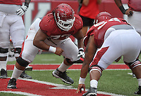 NWA Democrat-Gazette/MICHAEL WOODS &bull; @NWAMICHAELW<br /> University of Arkansas lineman Sebastian Tretola runs drills during practice Saturday August 22, 2015 at Razorback Stadium in Fayetteville.