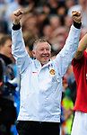 Sir Alex Ferguson manager of Manchester United celebrates winning the Premier League title during the Premier League match at The JJB Stadium, Wigan. Picture date 11th May 2008. Picture credit should read: Simon Bellis/Sportimage