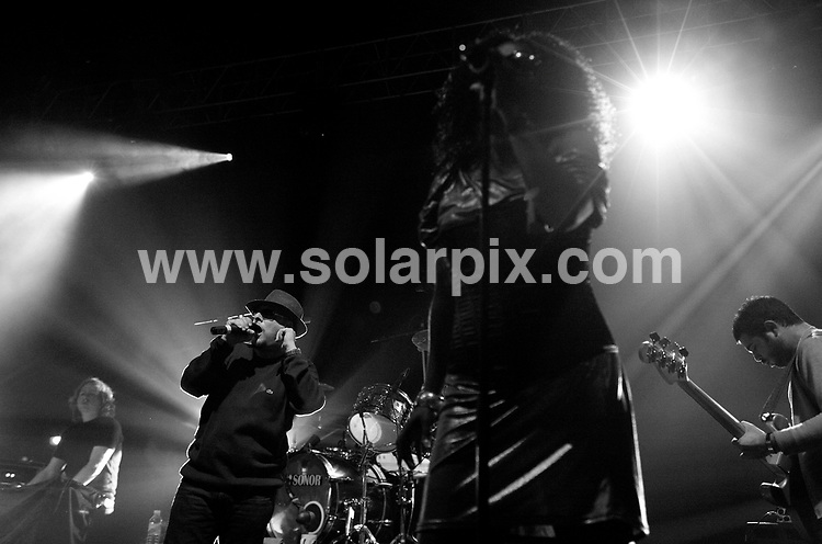 **ALL ROUND PICTURES FROM SOLARPIX.COM**.**WORLDWIDE SYNDICATION RIGHTS**.Happy Mondays in concert at the Brixton Academy, London. 6th October 2007..This pic: Happy Mondays..JOB REF: 4942 SHO       DATE: 06_10_2007.**MUST CREDIT SOLARPIX.COM OR DOUBLE FEE WILL BE CHARGED* *UNDER NO CIRCUMSTANCES IS THIS IMAGE TO BE REPRODUCED FOR ANY ONLINE EDITION WITHOUT PRIOR PERMISSION*