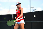 WINSTON SALEM, NC - MAY 22: Caroline Lampl of the Stanford Cardinal looks at the scoreboard after her victory against the Vanderbilt Commodores during the Division I Women's Tennis Championship held at the Wake Forest Tennis Center on the Wake Forest University campus on May 22, 2018 in Winston Salem, North Carolina. Stanford defeated Vanderbilt 4-3 for the national title. (Photo by Jamie Schwaberow/NCAA Photos via Getty Images)