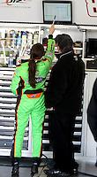 Danica Patrick talks with crew chielf Tony Eury, Jr., ARCA testing at Daytona International Speedway, Daytona Beach, FL, December 2009.  (Photo by Brian Cleary/www.bcpix.com)