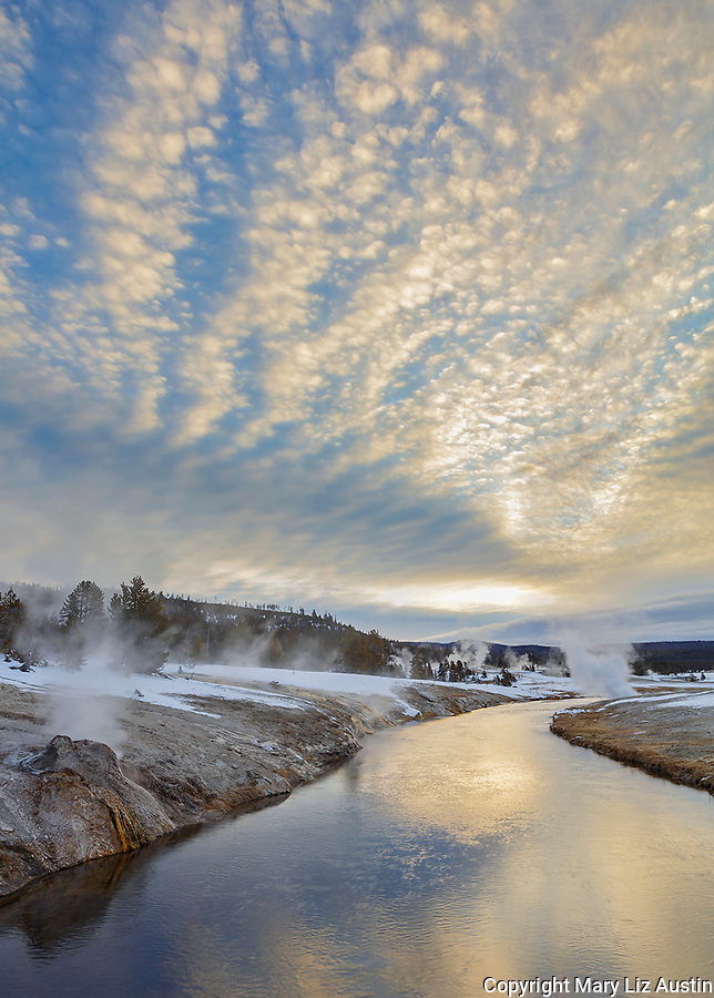 Yellowstone National Park: Sunrise clouds over the Firehole River in the Upper Geyser Basin