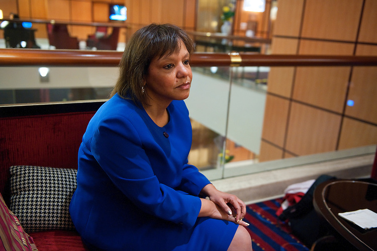 UNITED STATES - MARCH 5: Robin Kelly the Democratic nomination to succeed Jesse Jackson Jr. during an interview at the JW Marriott on Pennsylvania Ave. in Washington, D.C. She is all but certain to win the general election and will be a future member of Congress.  (Photo By Douglas Graham/CQ Roll Call)