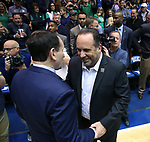 DURHAM, NC - JANUARY 29: Notre Dame head coach Mike Brey (right) and Duke head coach Mike Krzyzewski. The Duke University Blue Devils hosted the University of Notre Dame Fighting Irish on January 29, 2018 at Cameron Indoor Stadium in Durham, NC in a Division I men's college basketball game. Duke won the game 88-66.