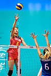 Xiangyu Gong of China (L) attacks during the FIVB Volleyball Nations League Hong Kong match between China and Argentina on May 29, 2018 in Hong Kong, Hong Kong. Photo by Marcio Rodrigo Machado / Power Sport Images